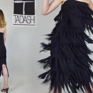 Tadashi black strapless fringe dress NWOT